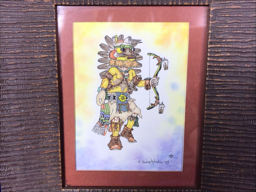 Original 2005 Framed Painting By Pete Sumatzkuku Hopi Native American Artist 3' X 4' [Photo 1]