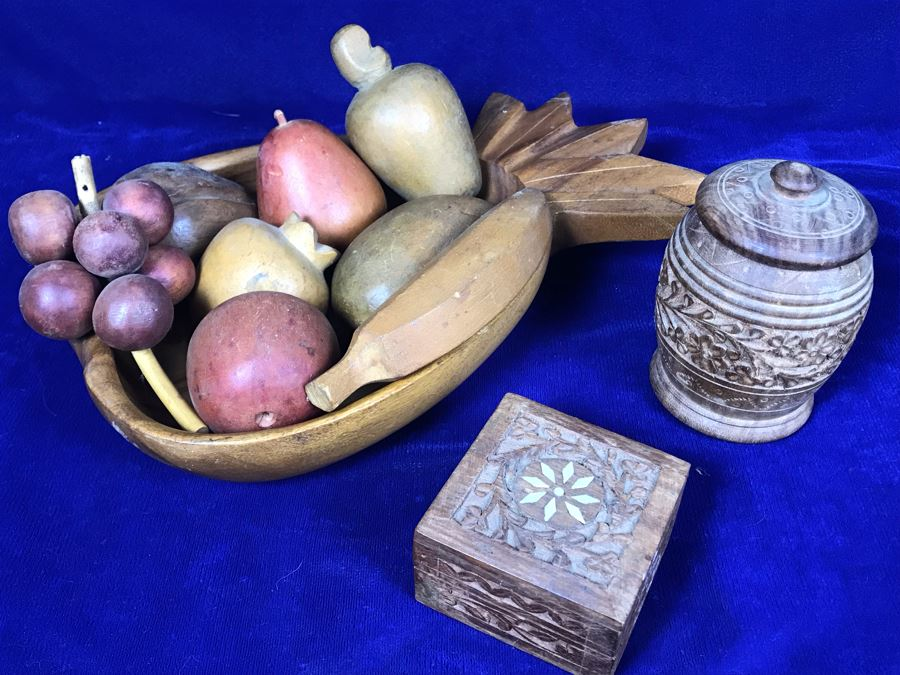 Carved Pineapple Bowl Filled With Various Carved Fruit And Pair Of Carved Wooden Boxes [Photo 1]