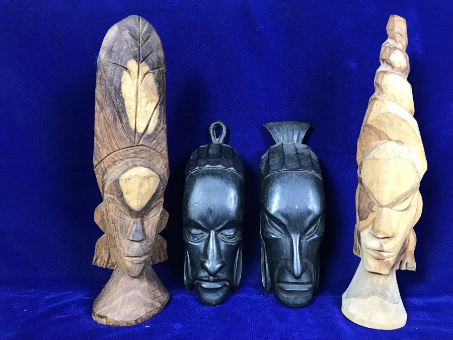 Set Of (4) Hand Carved Wooden Ethnic Sculptures Figurines - Outer Figures 12'H [Photo 1]