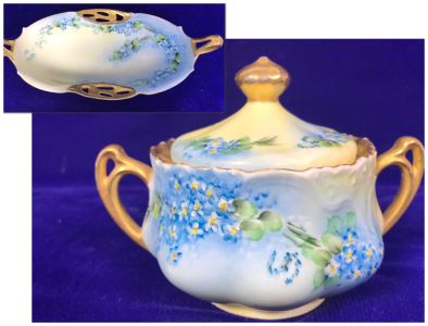 Pair Of Hand Painted Bavarian China Pieces