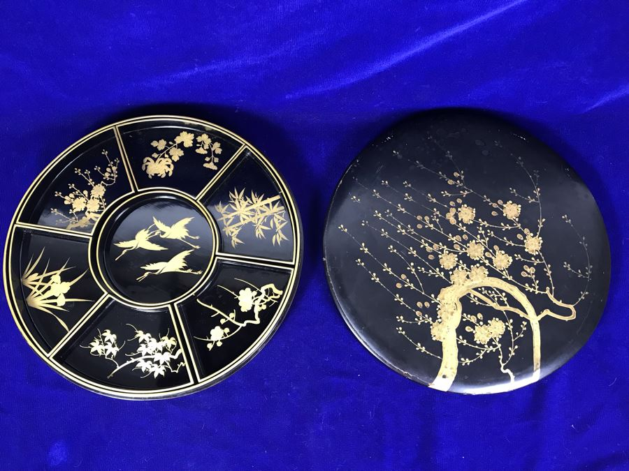 Stunning Vintage Asian Black And Gold Lacquer Divided Tray Box 12'R [Photo 1]