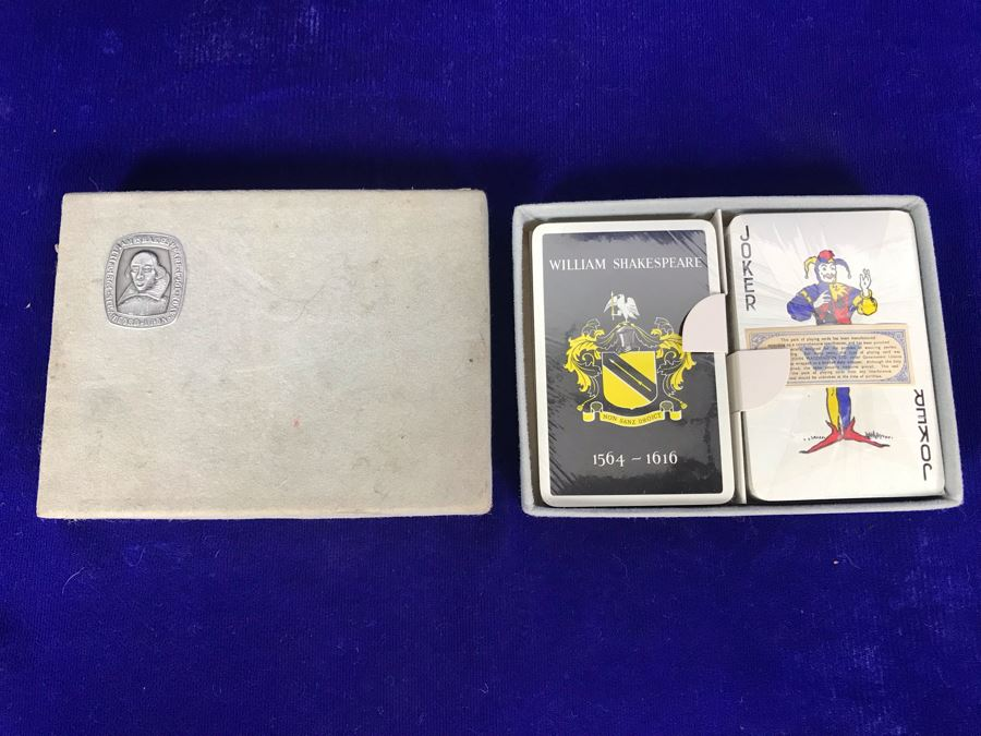 Vintage Sealed Dual Twin Boxed Set Pack Of William Shakespeare Playing Cards By John Waddington Ltd [Photo 1]