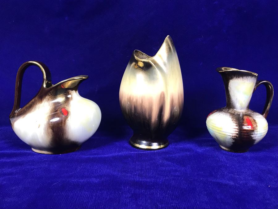 Vintage German Mid-Century Pottery Vase And Handled Pitchers [Photo 1]