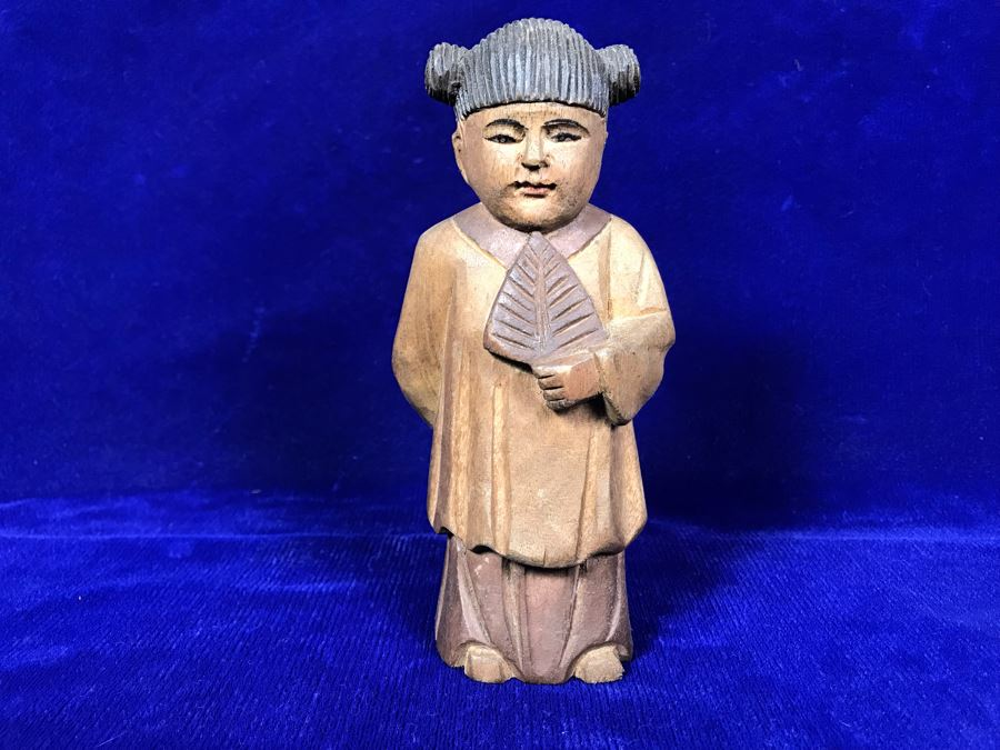 Vintage Hand Carved Chinese Wooden Figurine 6'H [Photo 1]