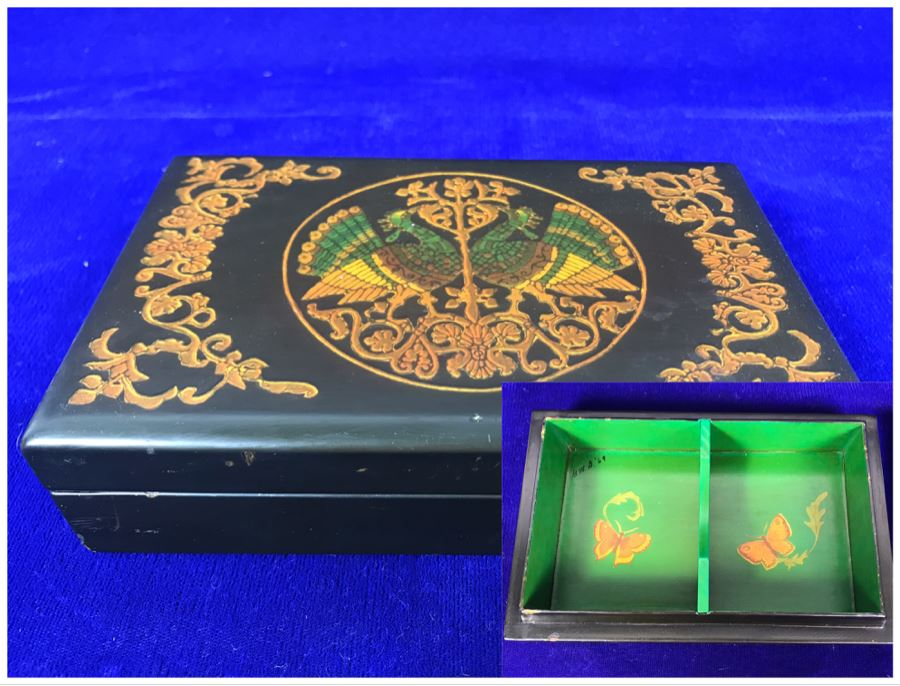 Vintage Lacquer Playing Card Box Decorated With Peacocks And Butterflies Signed G.W.D. '69 [Photo 1]
