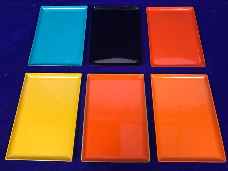 Set Of (6) Mid-Century Japanese Trays 8' X 5' [Photo 1]