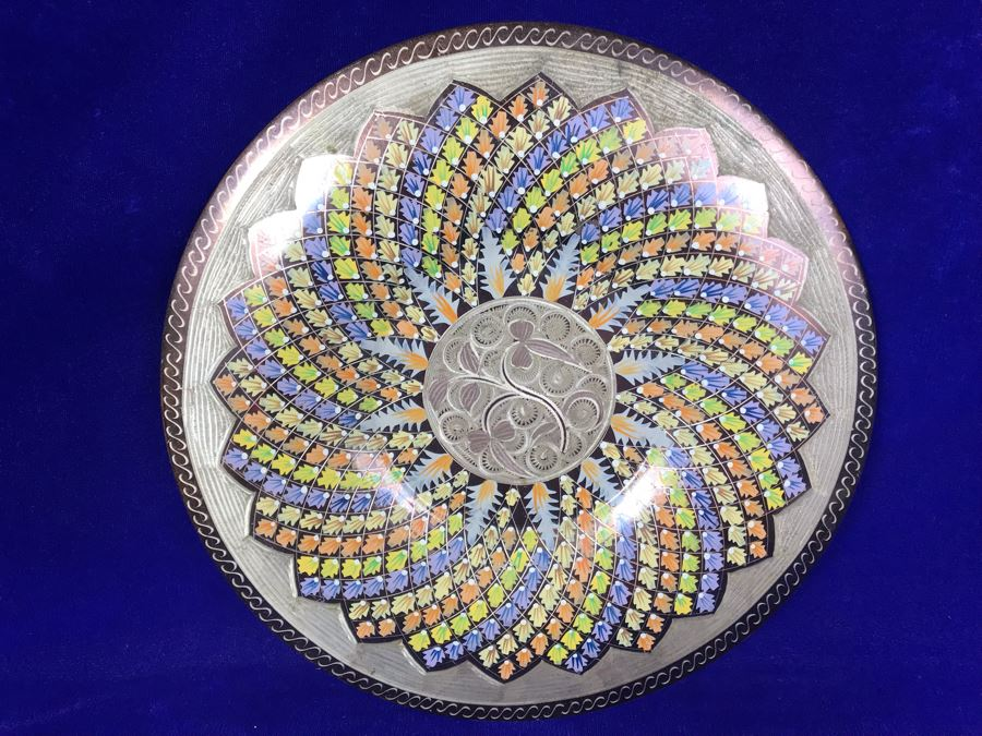 Turkish Hand Made Decorated Copper Tray By Erzincanlilar 11.5'R [Photo 1]