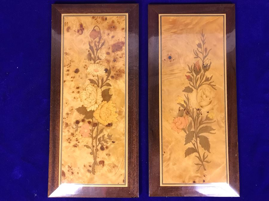 Pair Of Stunning Inlaid Wooden Wall Panels Floral Decoration Artwork 6' X 14' [Photo 1]