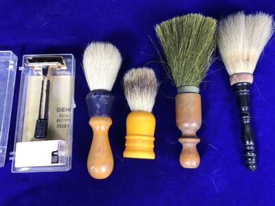 Set Of (4) Vintage Shaving Brushes And Vintage New GEM Razor