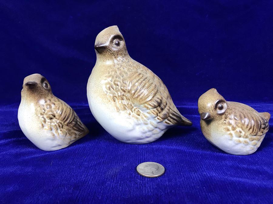 Set Of (3) MCM Quail Bird Figurines By Howard Pierce [Photo 1]
