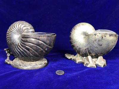 Pair Of Antique Victorian Nautilus Shell Silver Plated Spoon Warmers