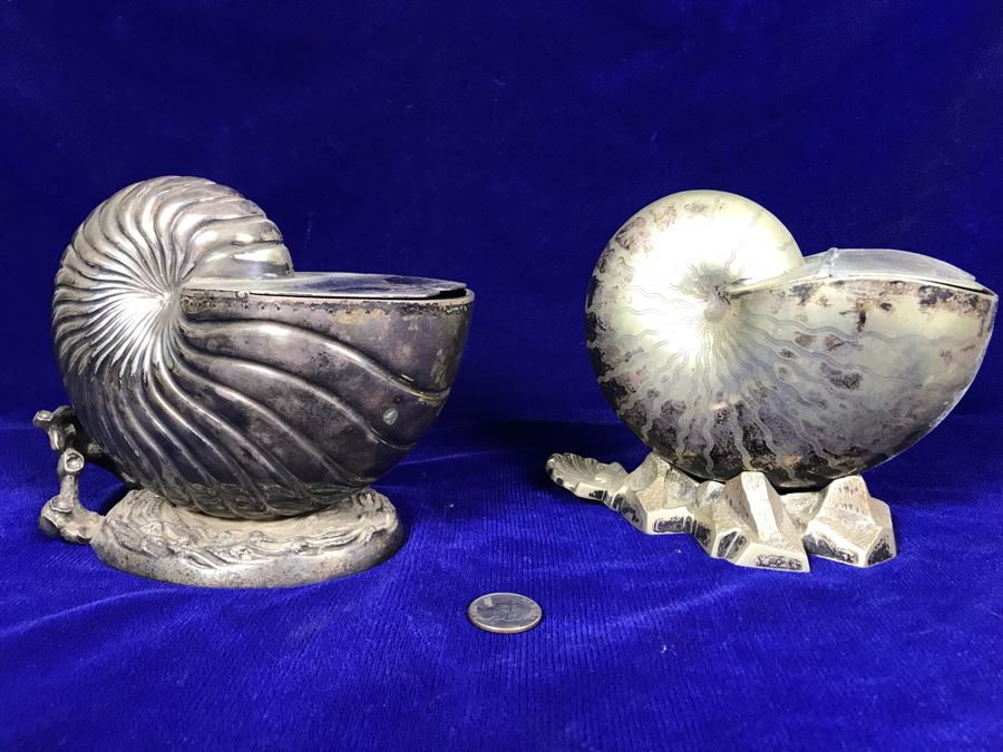 Pair Of Antique Victorian Nautilus Shell Silver Plated Spoon Warmers [Photo 1]