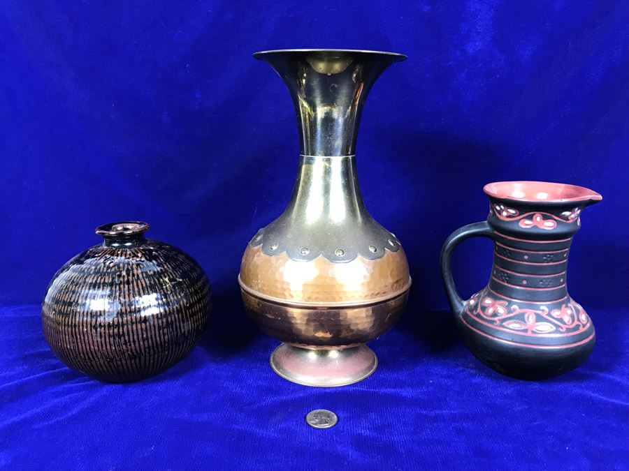 R: Vintage Tbilisi Ukraine USSR Pitcher, C: English Brass And Copper Vase, L: Mid-Century Japanese Pottery Vase [Photo 1]