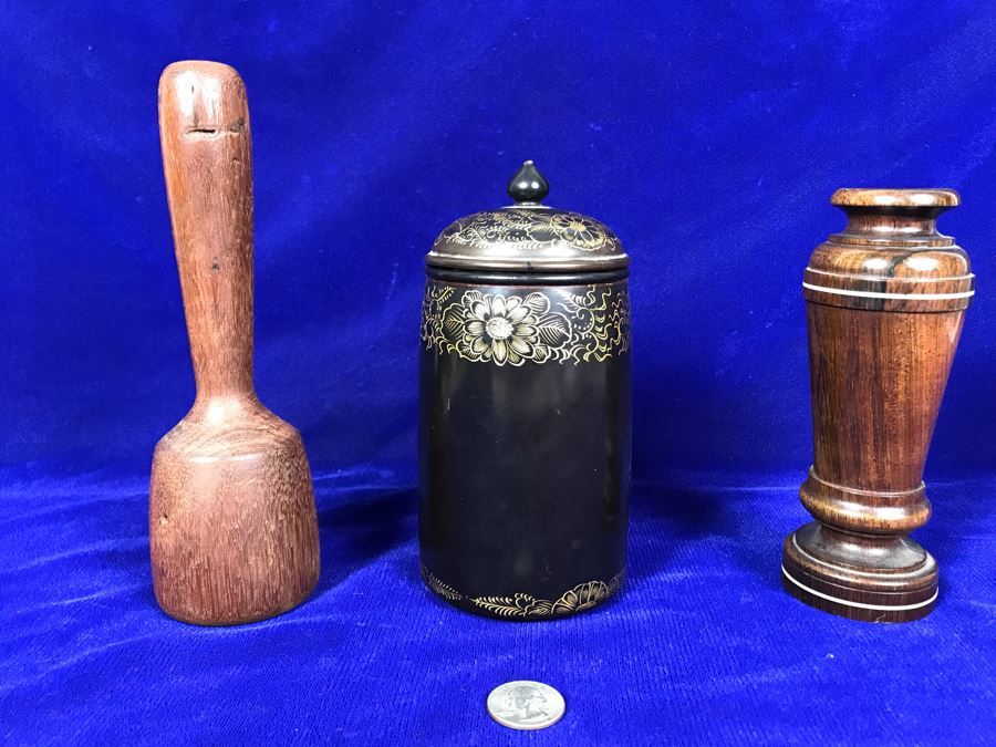 R: Turned Wooden Vase, C: Vintage Japanese Lacquer Box, L: Vintage Wooden Masher [Photo 1]