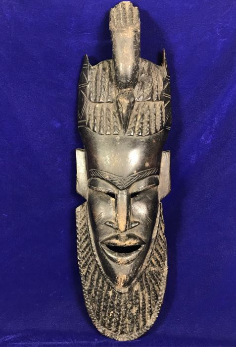 Large Vintage Carved Wooden Mask 22'H X 7'W [Photo 1]