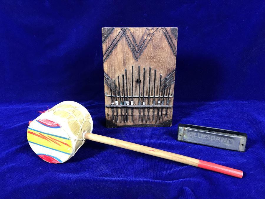 R: Bluesband Hohner Harmonica, C: Vintage African Mbira Musical Instrument, L: Rattle [Photo 1]