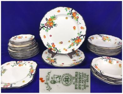 Vintage Royal Doulton China Set 'Woburn' Asian Pattern Made In England Apx 35+ Pieces