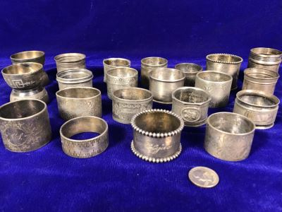Collection Of Vintage Silverplate Mainly Monogrammed Napkin Rings