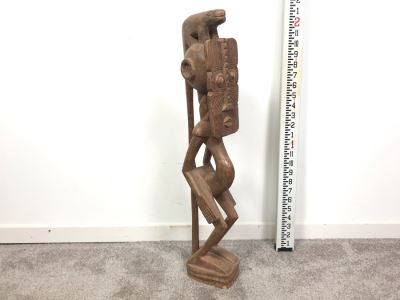 Large Wooden Hand Carved Ethnic Sculpture Figure 24'H
