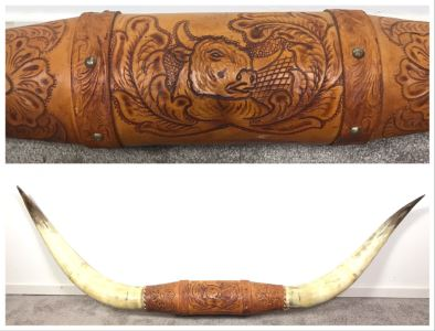 Large Mounted Steer Bull Horns With Tooled Leather 5'