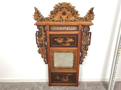 Stunning Antique Chinese Hand Carved Wooden Wall Mirror 22' X 35' - See Photos