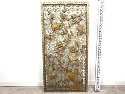 Vintage Chinese Relief Carved Gilt Wooden Door Panel Wall Decor Decorated With Birds, Butterflies And Blossoming Flowers 17' X 34'