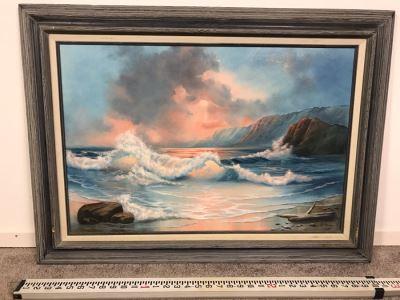Framed Original Oil Painting Of Shoreline Crashing Waves By Bobbi Harrington After Garin 36' X 27'