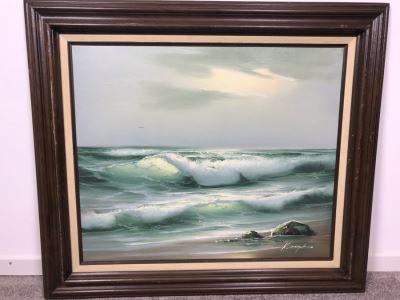 Framed Original Signed Oil Painting Of Shoreline Crashing Waves Signature Illegible 31' X 27'