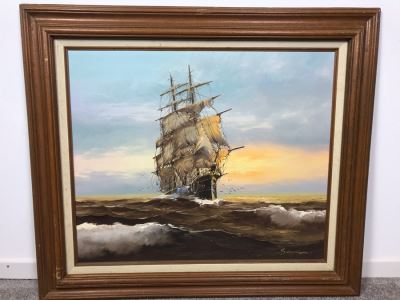 Framed Original Signed Oil Painting Of Ship At Sea Signature Illegible 31' X 27'