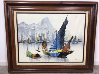 Framed Original Signed Oil Painting Of Chinese Junk Boats By Robert Lo 31' X 26'
