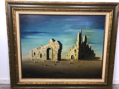 Framed Original Signed Oil Painting Surrealist Architectural Ruins By R. Green 36' X 30'