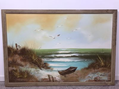 Framed Original Signed Oil Painting Seascape By Engel 38' X 26'