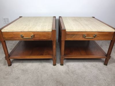 Pair Of Mid-Century Wooden Side Tables With Italian Marble Tops By Medallion Limited 24'W X 28'D X 19'H