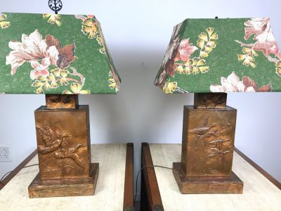 Pair Of Vintage Copper Embossed Table Lamps Decorated With Wildlife Ducks