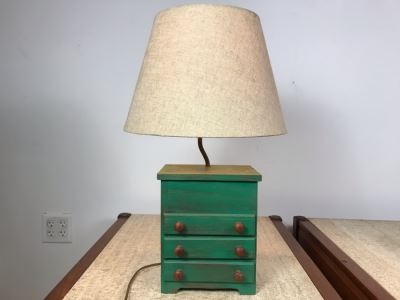 Vintage Wooden Mini Wooden Dresser Lamp With 3-Drawers - One Pull Has Chip