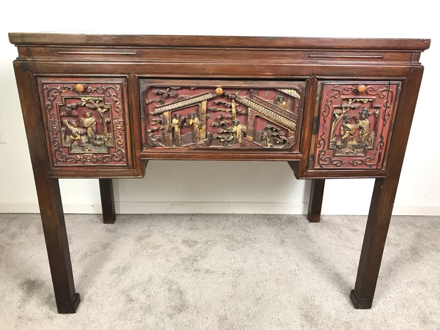 Antique Chinese Carved Wooden Desk With Scenic Carvings On Front And Both Sides [Photo 1]
