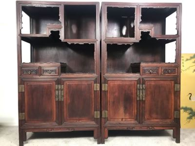 Pair Of Antique Chinese Rosewood Cabinets 35'W X 17'D X 62'H
