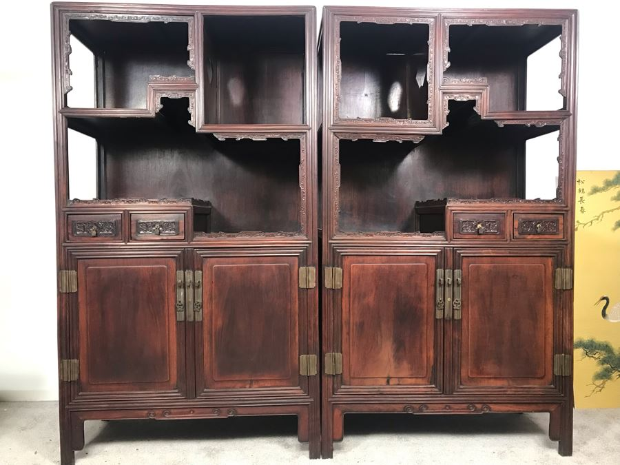 Pair Of Antique Chinese Rosewood Cabinets 35'W X 17'D X 62'H [Photo 1]