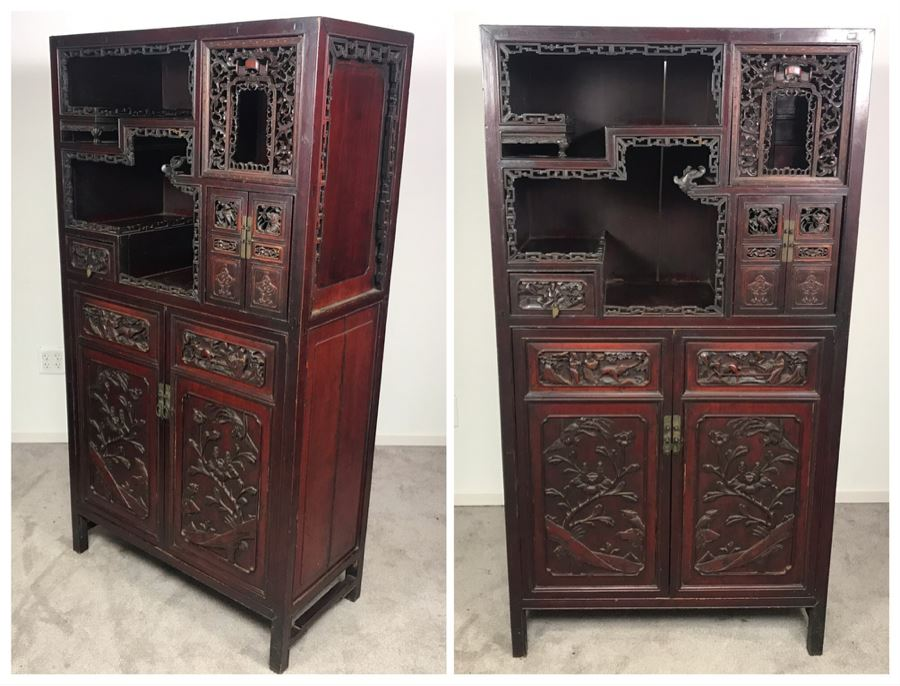 Stunning Single Antique Chinese Intricately Carved Rosewood Cabinet 34'W X 17'D X 63.5'H [Photo 1]