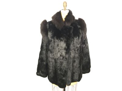 Stunning Vintage Black Dyed Rabbits Fur Coat Size M