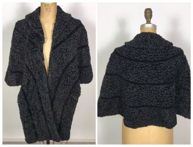 Vintage Livingston Bros Black Persian Lamb Coat Shawl Size M