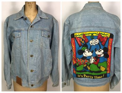 Walt Disney Mickey Mouse And Minnie Mouse Denim Jacket 'It's Party Time!' Size M