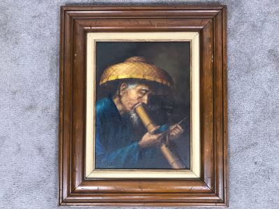 Original Asian Signed Oil Painting Of Man Smoking Pipe Signed Chan 20' X 24'