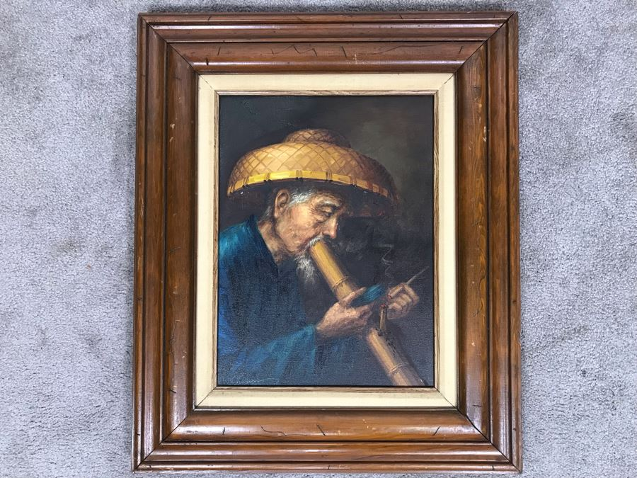 Original Asian Signed Oil Painting Of Man Smoking Pipe Signed Chan 20' X 24' [Photo 1]