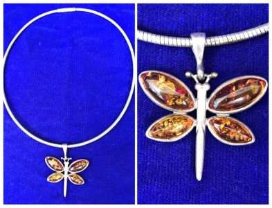 Sterling Silver Amber Dragonfly Pendant Necklace 32g
