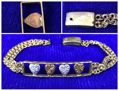 14K Gold Bracelet Decorated With Hearts Made In Italy - Clasp Needs Repair 8.8g