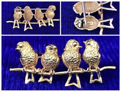 14K Gold Four Birds On A Branch Brooch Pendant 3.2g