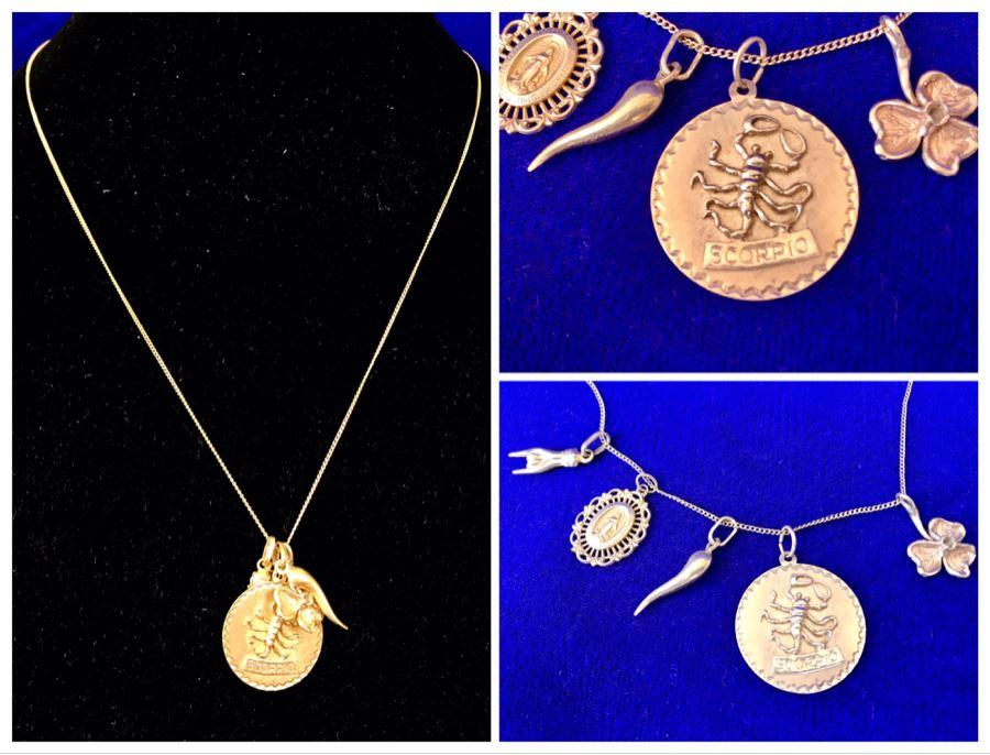 14K Gold Charm Pendant Necklace Scorpio 10.9g [Photo 1]