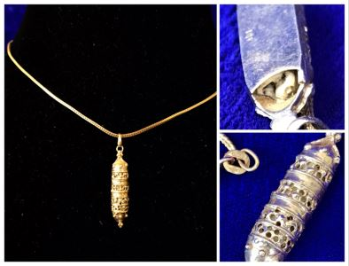 14K Gold Torah Scroll Pendant With 14K Gold Italy Neckalce 5.8g