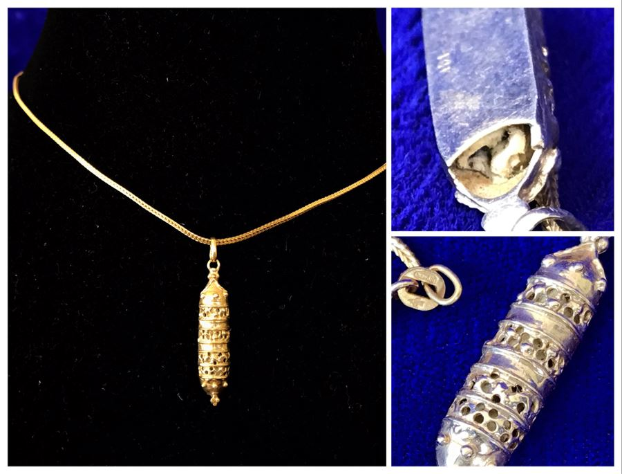 14K Gold Torah Scroll Pendant With 14K Gold Italy Neckalce 5.8g [Photo 1]